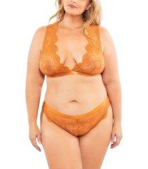 women's plus size floral striped lace bralette and panty 2 piece set