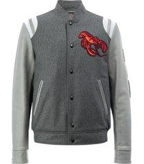 lanvin lobster embroidered baseball jacket - grey
