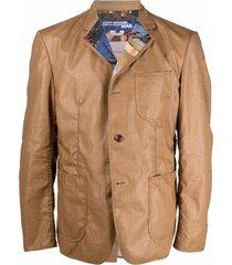 junya watanabe man linen coated-effect blazer - brown