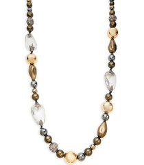10k goldplated, faux pearl & multi-stone necklace