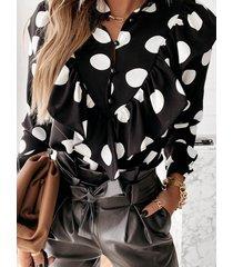 camicetta casual da donna con maniche a volant e patchwork a pois
