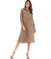 vestido de gasa con mangas largas y solapa de manga larga con vestido mujer