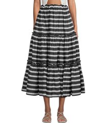 lisa marie fernandez women's ruffle peasant skirt - black white - size xs