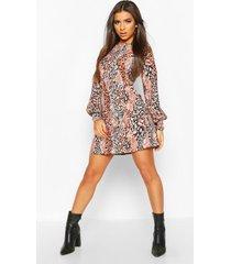 animal print puff sleeve shift dress, stone