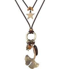 perline di legno etniche foglia di ginkgo doppio strato collana pendente ciondolo corda di cera lunghe collane per le donne