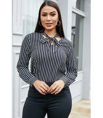 yoins blusa de manga larga con cuello en v a rayas con lazo negro