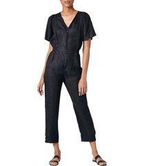joie women's linen cropped jumpsuit - vintage olive - size xxs