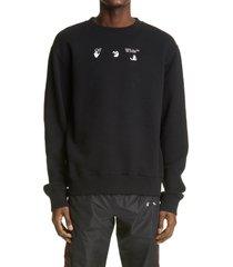 men's off-white world peace men's crewneck sweatshirt, size medium - black