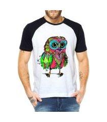 camiseta criativa urbana raglan coruja psicodélica