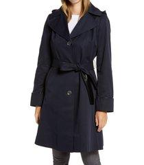 women's via spiga hooded trench coat, size x-large - blue