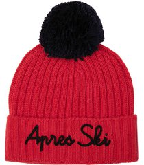 red blended cashmere hat apres ski embroidery and blue pompon