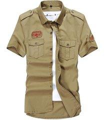 camicia casual da uomo estiva estiva in cotone con maniche lunghe, carico camicie