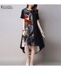 zanzea nueva llegada de las mujeres del vestido de moda de verano vestido tamaño de impresión floja ocasional del o-cuello dobladillo irregular largo maxi vestido vestidos plus -negro