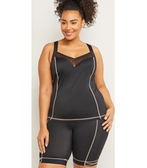 lane bryant women's cacique sport fitted swim tankini top with balconette bra - lace-up racerback 38c black