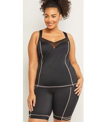 lane bryant women's cacique sport fitted swim tankini top with balconette bra - lace-up racerback 46d black