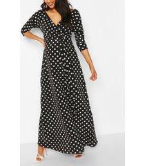 maternity polka dot wrap maxi dress, black