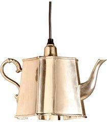 luminária pendente bule kettle de metal para um lâmpada bivolt