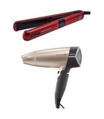 secador de cabelo mallory travel bolsa 1500w  + chapa prancha alisadora gama cp9 digital bivolt