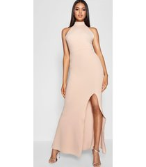 high neck split leg maxi bridesmaid dress, stone