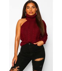 plus cable knit cut out sweater, wine
