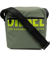 diesel logo-print rubberised messenger bag - green