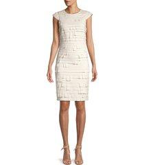 halston heritage women's bandage sheath dress - chalk - size 4