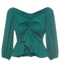 camisa feminina decote v franzido - verde