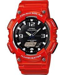 reloj casio modelo analogo digital rojo hombre