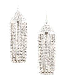area tassel chandelier drop earrings - silver