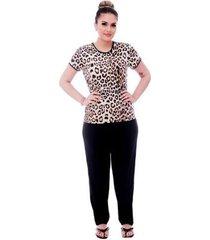 pijama feminino blusa animal print viés calça comprida - feminino