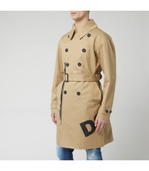 dsquared2 men's trench coat - beige - it 48/m