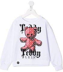 philipp plein stud-embellished teddy print sweatshirt - white