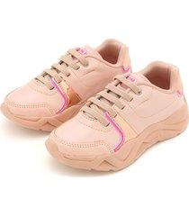 tênis pé com pé menina dad sneaker chunky rosa - tricae