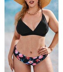 plus size criss cross flower print bikini swimwear