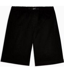 mens black woven long length shorts