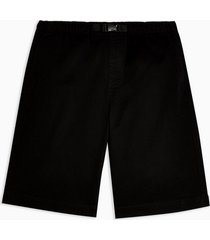 mens black woven long length shorts