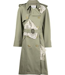 goen.j double-breasted lace-paneled trench coat - brown
