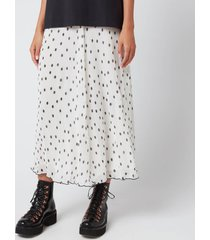 ganni women's pleated polk dot georgette skirt - egret - eu 40/uk 12