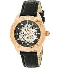empress godiva automatic black leather watch 38mm