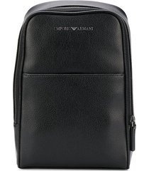 emporio armani textured rectangular backpack - black