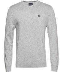 bradley crew neck sweater gebreide trui met ronde kraag grijs lexington clothing