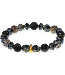 jean claude men's dell arte 24k yellow gold, sterling silver & multi-stone stretch bracelet