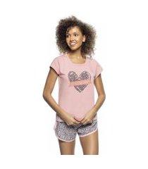 pijama blusa e short pink animal print em algodáo rosa diário íntimo