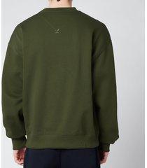 kenzo men's multicolour logo classic sweatshirt - dark khaki - xxl