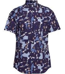 d1. collage print slim bd ss overhemd met korte mouwen blauw gant