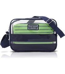 bolsa transversal com 2 peças jacki design felicita azul e verde - tricae