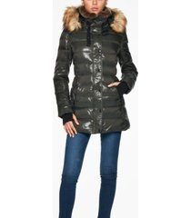 s13 chelsea faux-fur-trim hooded puffer coat