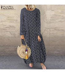 zanzea mujer de manga larga del lunar larga camisa de vestir de gran tamaño más el tamaño de vestido de midi -azul marino
