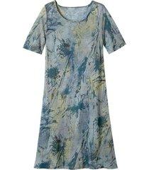 luchtige jurk in a-lijn met batikprint, rookblauw-batik 40