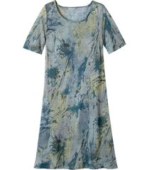 luchtige jurk in a-lijn met batikprint, rookblauw-batik 46